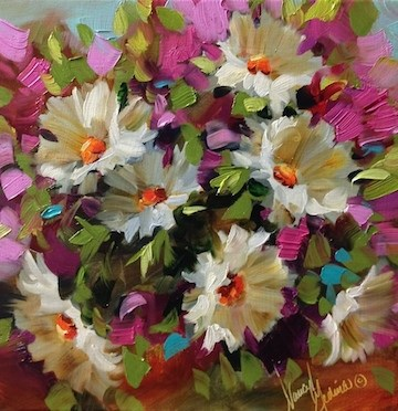 """""""On the Brink of Pink Daisies - Flower Paintings by Nancy Medina"""" original fine art by Nancy Medina"""