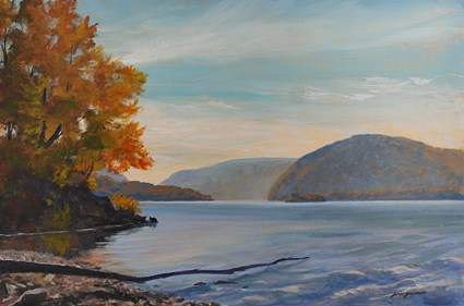 """""""Hudson River in Blues and Rusts"""" original fine art by Jamie Williams Grossman"""