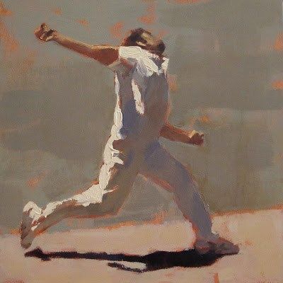 """FAST BOWLING - Cricket at the MCG"" original fine art by Helen Cooper"