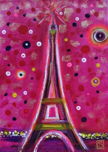"""""""4121 - Paris in Magenta"""" original fine art by Sea Dean"""