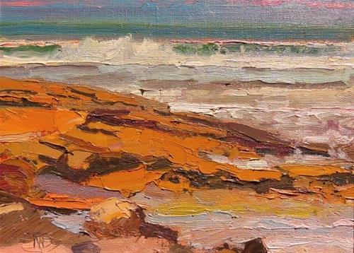 """Washington Oaks Coquina Rocks  St Augustine, plein air, marinescape oil painting by Robin Weiss"" original fine art by Robin Weiss"