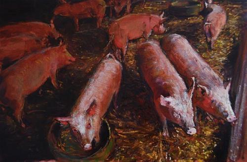 """Interior Light, Farmyard Series."" original fine art by Adebanji Alade"