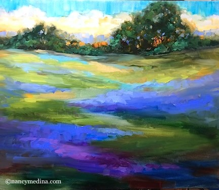 """Bue Rain Bluebonnets - Flower Paintings by Nancy Medina"" original fine art by Nancy Medina"