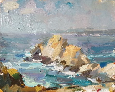 """Painting in California 10 Rocks lit"" original fine art by Roos Schuring"