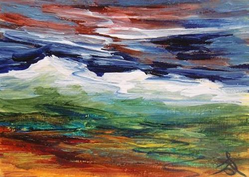 """3136 - DRAMATIC MOUNTAINS - ACEO Series"" original fine art by Sea Dean"