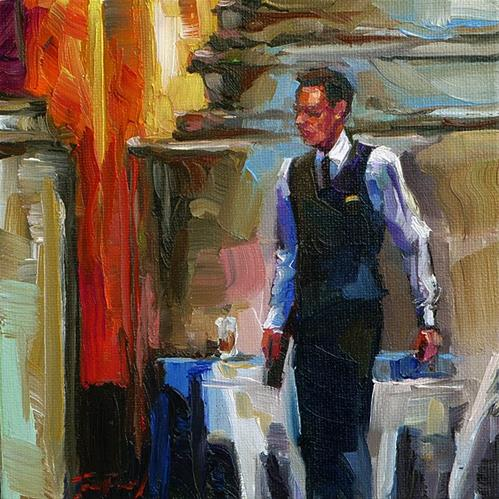 """im Café"" original fine art by Jurij Frey"