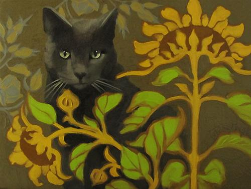 """In the Garden oil painting cat & sunflowers"" original fine art by Diane Hoeptner"