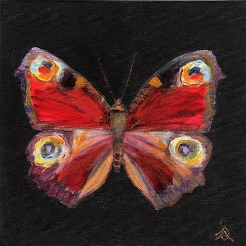 """3132 - Mounted - Peacock Butterfly - Butterflies Series"" original fine art by Sea Dean"