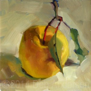 """""""Oil Painting of an Apple"""" original fine art by Deb Anderson"""