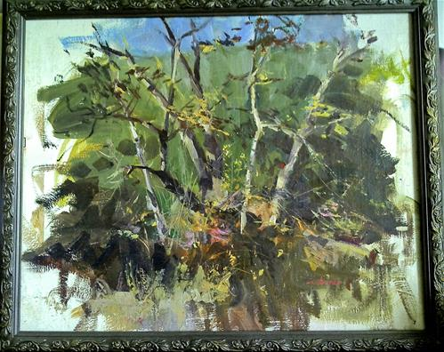 """trees in the park"" original fine art by Richard Schiele"