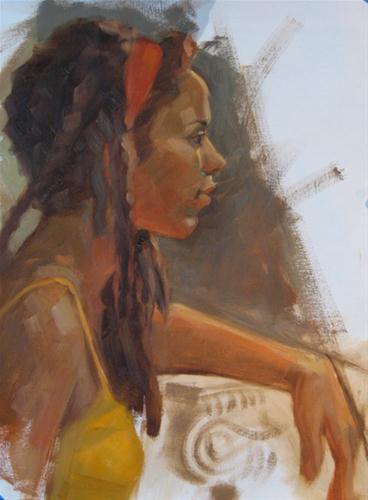 """Red headband  12x16  oil on canvas"" original fine art by Claudia Hammer"