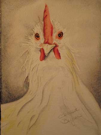 """""""Kitchen Chicken"""" original fine art by Teresa Beyer"""