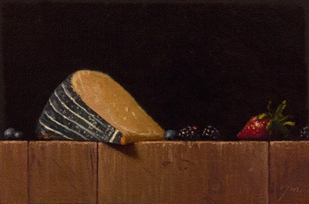 """""""Old Amsterdam Gouda with Strawberry, Blueberries, and Blackberries"""" original fine art by Abbey Ryan"""