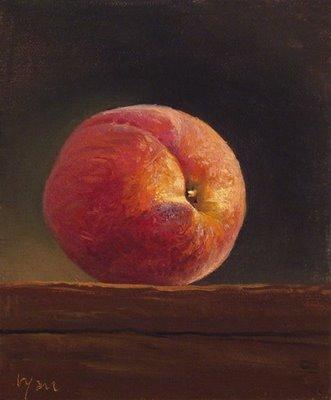 """""""Peach on a Wood Block"""" original fine art by Abbey Ryan"""