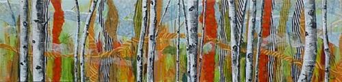 """ASPEN IN ORANGE AND GREEN ORIGINAL MIXED MEDIA PAINTING OF ASPEN © SAUNDRA LANE GALLOWAY AND"" original fine art by Saundra Lane Galloway"