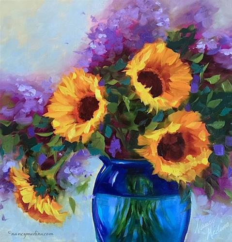 """New Poppy Cell Phone Cases and Brink of Spring Sunflowers - Flower Painting Classes and Workshops by"" original fine art by Nancy Medina"