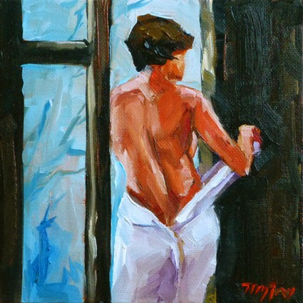 """at the window"" original fine art by Jurij Frey"