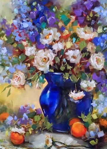 """Ranunculus and Blue Delphiniums and a San Diego Workshop by Nancy Medina"" original fine art by Nancy Medina"