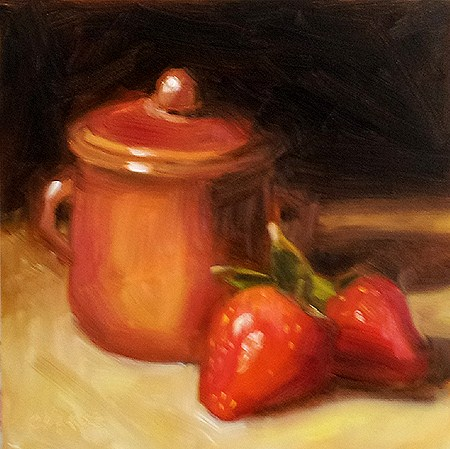 """Pot and Strawberries"" original fine art by Cindy Haase"