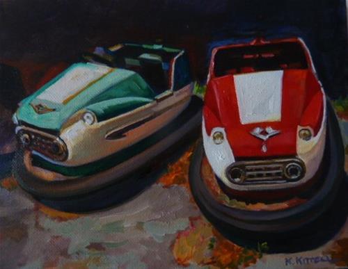 """WHALOM PARK BUMPER CARS"" original fine art by Kathryn Kittell"