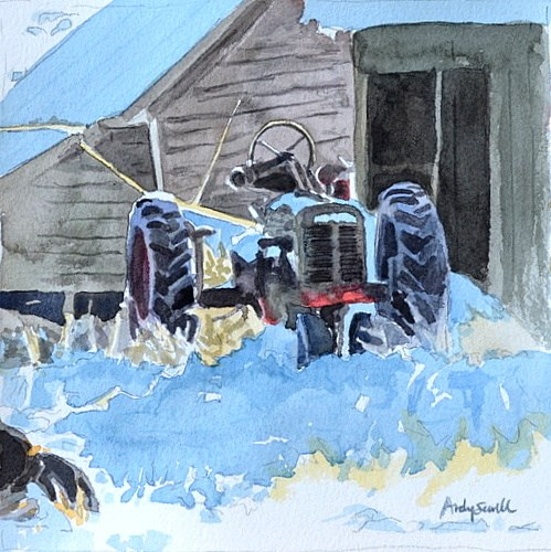 """""""The Old Tractor - 6x6 watercolor by Andy Sewell"""" original fine art by Andy Sewell"""