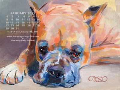 """January Desktop Calendar"" original fine art by Kimberly Santini"