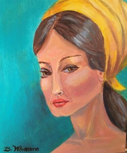 """""""Girl with Scarf"""" original fine art by Barbara Whitmire"""