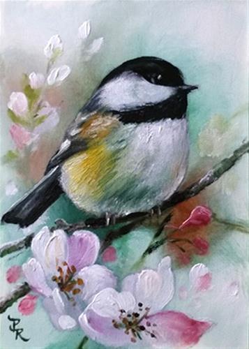 """Mint Chickadee  ACEO"" original fine art by Paulie Rollins"