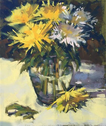 """Yellow Mums"" original fine art by Marla Baggetta"
