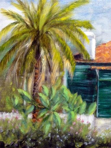 """""""New Orleans Palm Tree And White Picket Fence"""" original fine art by Dalan Wells"""