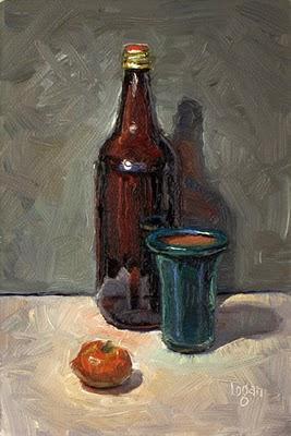 """Bottle, Bonsai Pot, Tangerine"" original fine art by Raymond Logan"