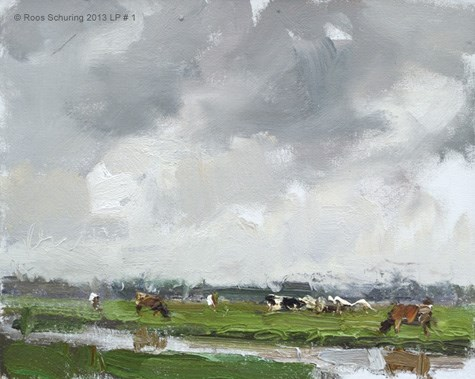 """Cow season has begun. Landscape spring 1 Cows in Rain (available)"" original fine art by Roos Schuring"