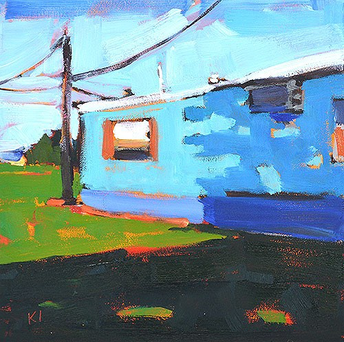 """Blue Trailer, Oklahoma"" original fine art by Kevin Inman"
