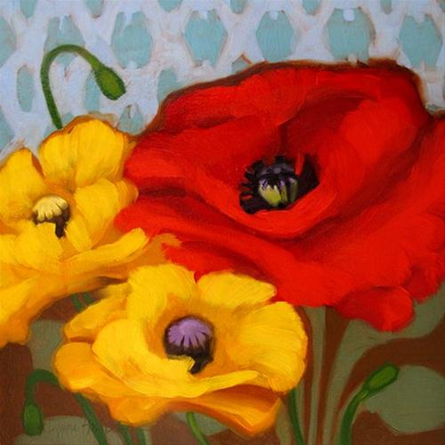 """""""Poppies on Pattern companion painting"""" original fine art by Diane Hoeptner"""
