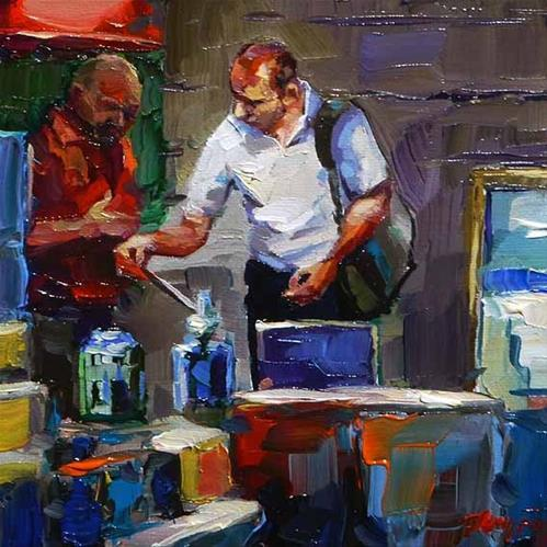"""at the flea market"" original fine art by Jurij Frey"