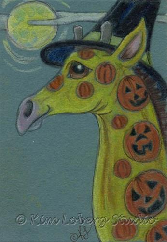 """Pumpkin Tattooed Giraffe Witch"" original fine art by Kim Loberg"
