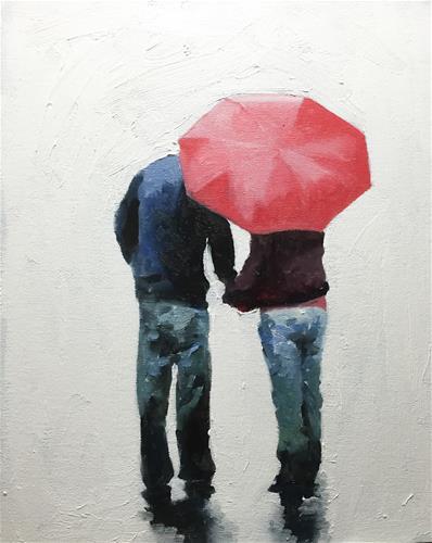 """Love in the Rain"" original fine art by James Coates"