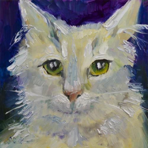 """""""Scruffy Cat"""" original fine art by Sue Churchgrant"""