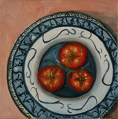 """""""Tomatoes in blue bowl"""" original fine art by Sunny Williams"""