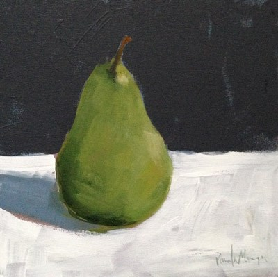"""Pear on Black and White"" original fine art by Pamela Munger"