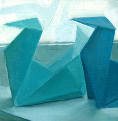 """Two Origami Swans on Sill"" original fine art by Michael William"