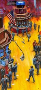 """New York Stock Exchange"" original fine art by Lesley Spanos"