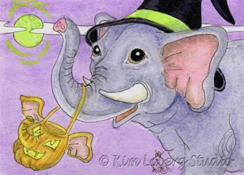 """""""Halloween Elephant Witch"""" original fine art by Kim Loberg"""