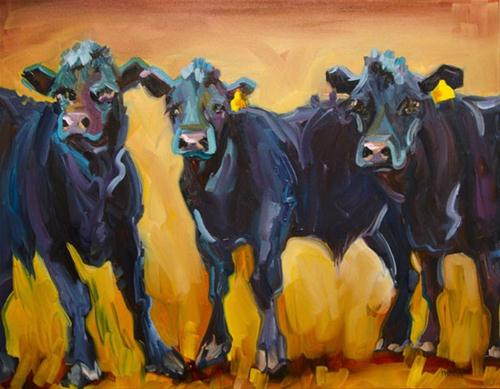 """""""COWS LOVE THE COWS Sold Tina's Cows Oil Painting Diane Whitehead"""" original fine art by Diane Whitehead"""