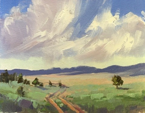 """Nowhere Road Storms"" original fine art by Mary Jabens"