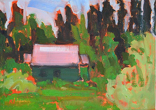 """""""Cottage in the Woods"""" original fine art by Kevin Inman"""
