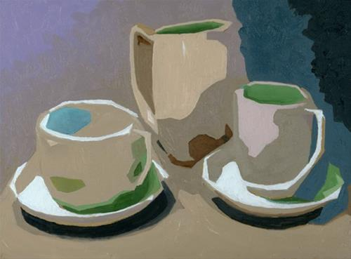 """""""CUPS AND PITCHER"""" original fine art by Nancy Herman"""