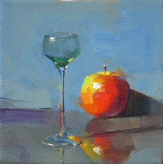 """Glass and Apple --- Sold"" original fine art by Qiang Huang"