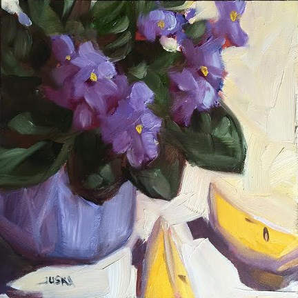 """Violets and Lemons"" original fine art by Elaine Juska Joseph"
