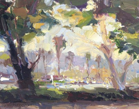 """""""View Through Trees – San Diego Harbour Drive"""" original fine art by Roos Schuring"""